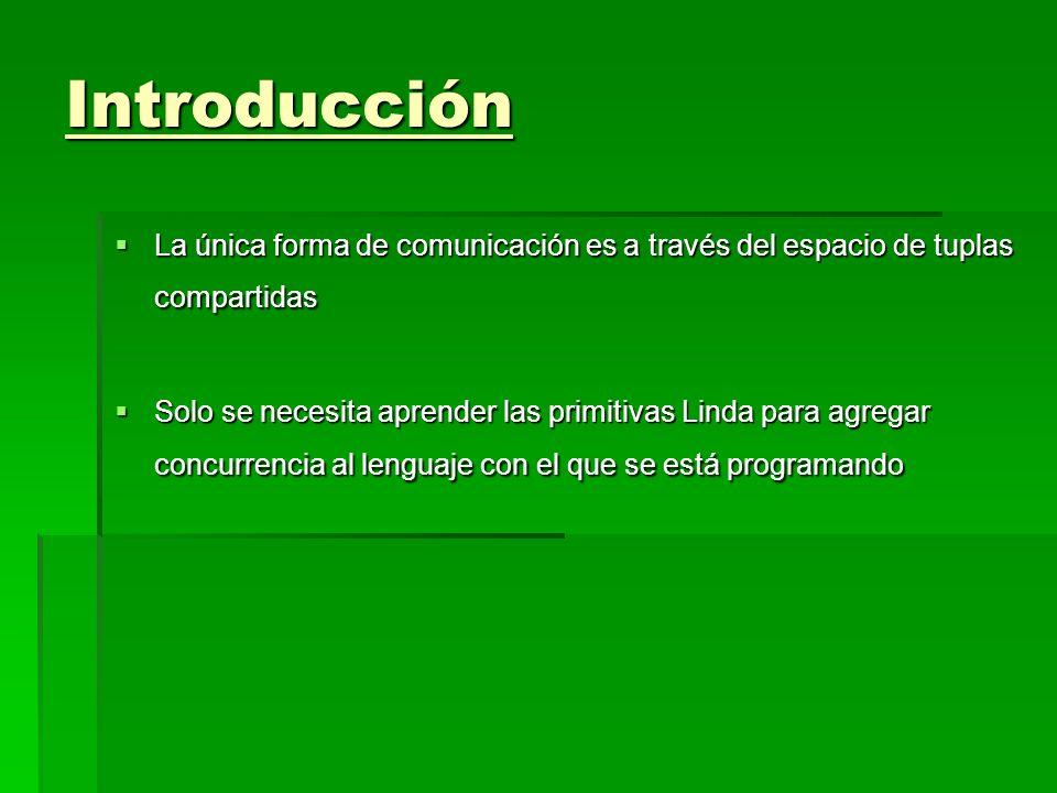 Introducción La única forma de comunicación es a través del espacio de tuplas compartidas.