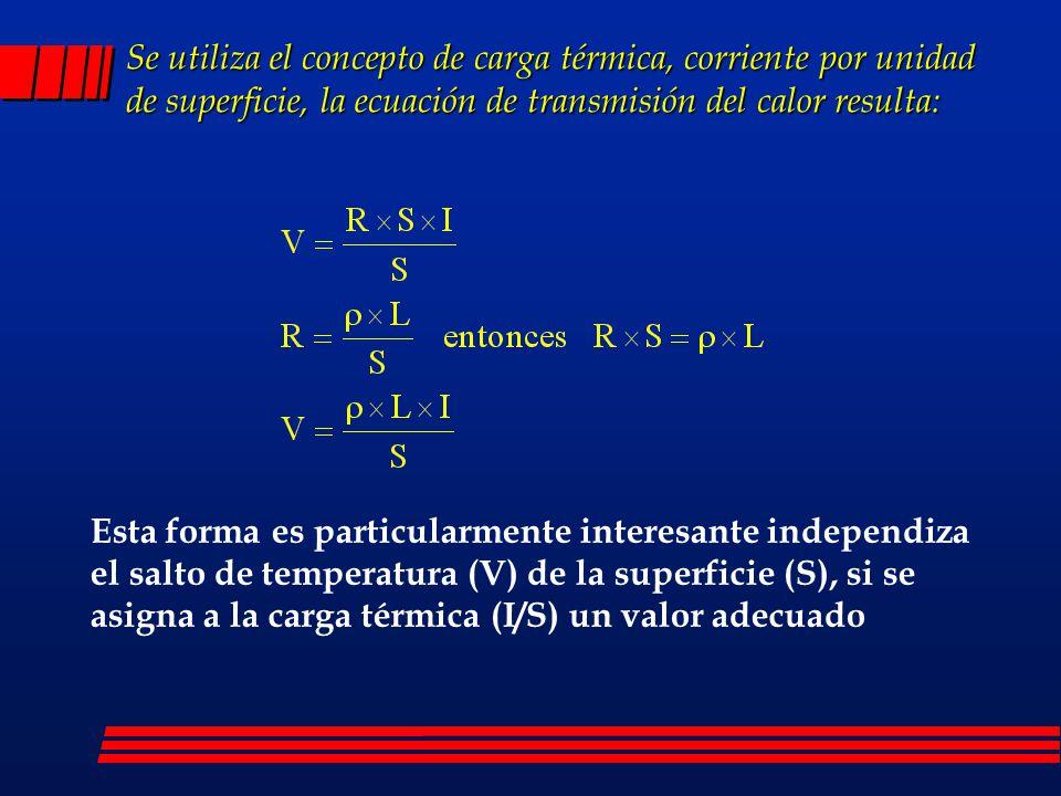 Se utiliza el concepto de carga térmica, corriente por unidad de superficie, la ecuación de transmisión del calor resulta:
