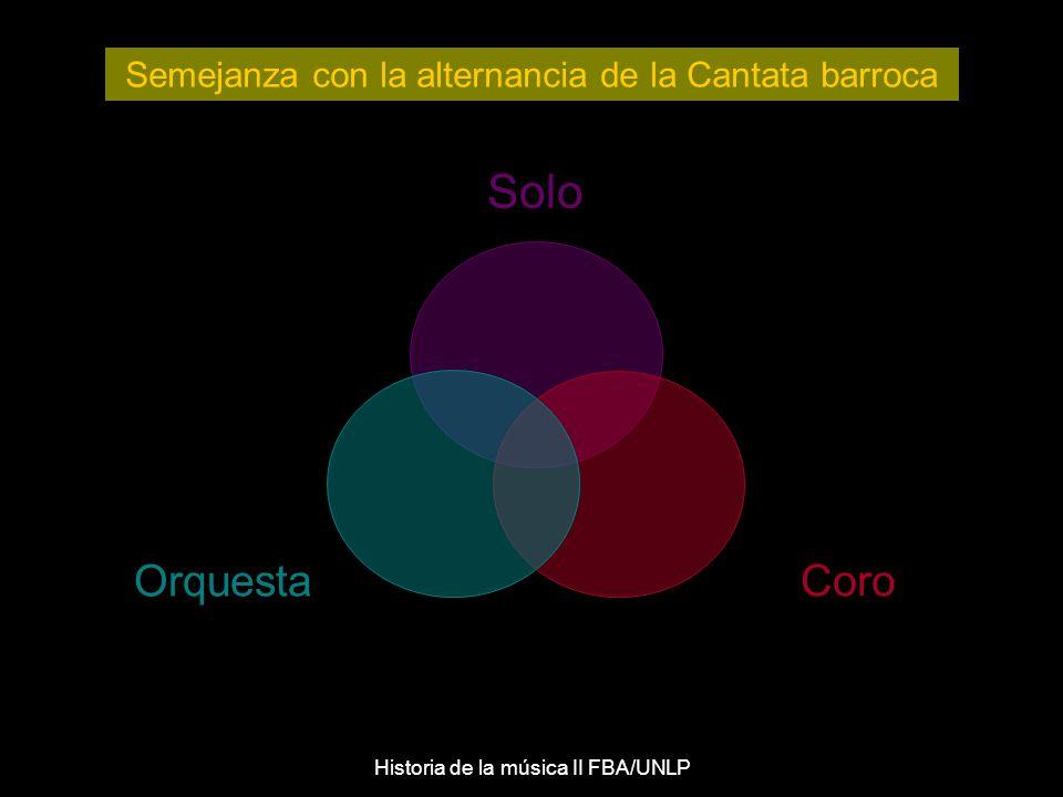 Solo Orquesta Coro Semejanza con la alternancia de la Cantata barroca