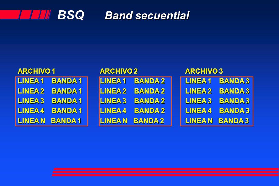 BSQ Band secuential ARCHIVO 1 LINEA 1 BANDA 1 LINEA 2 BANDA 1