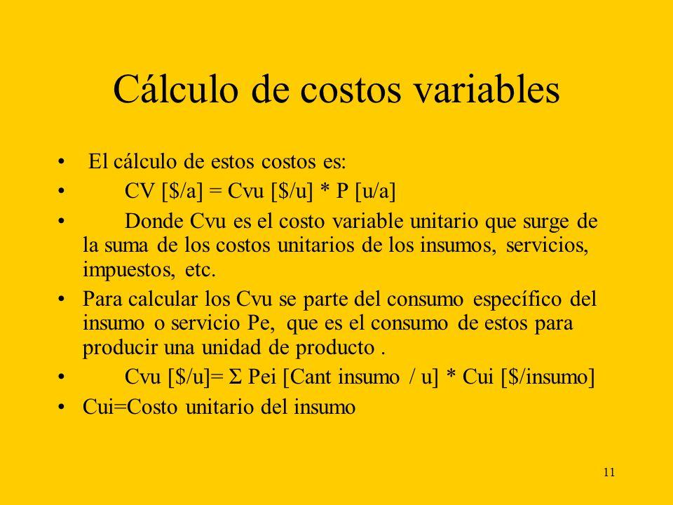 Cálculo de costos variables