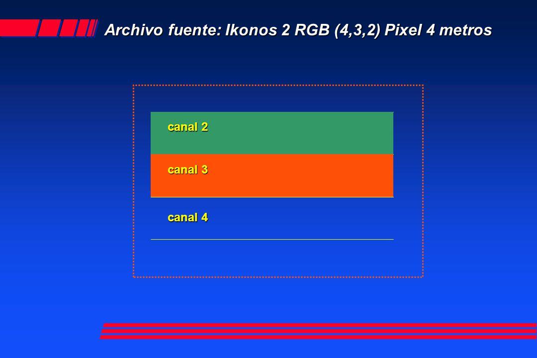 Archivo fuente: Ikonos 2 RGB (4,3,2) Pixel 4 metros