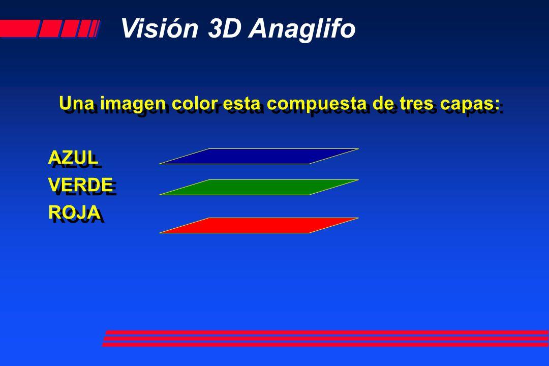 Visión 3D Anaglifo Una imagen color esta compuesta de tres capas: AZUL