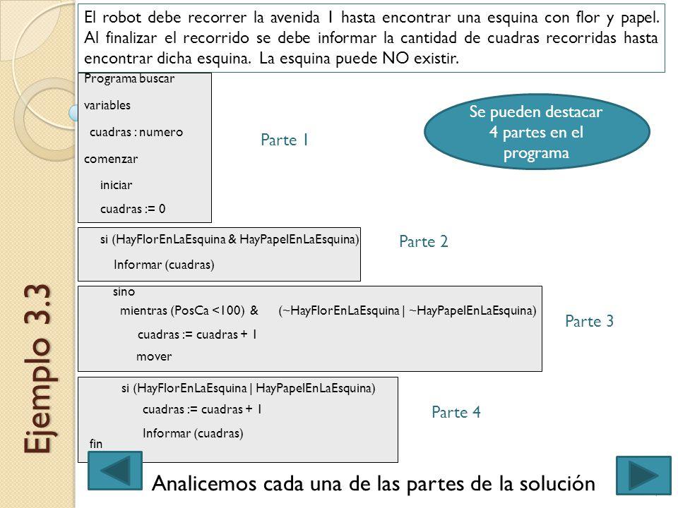 Ejemplo 3.3 Analicemos cada una de las partes de la solución