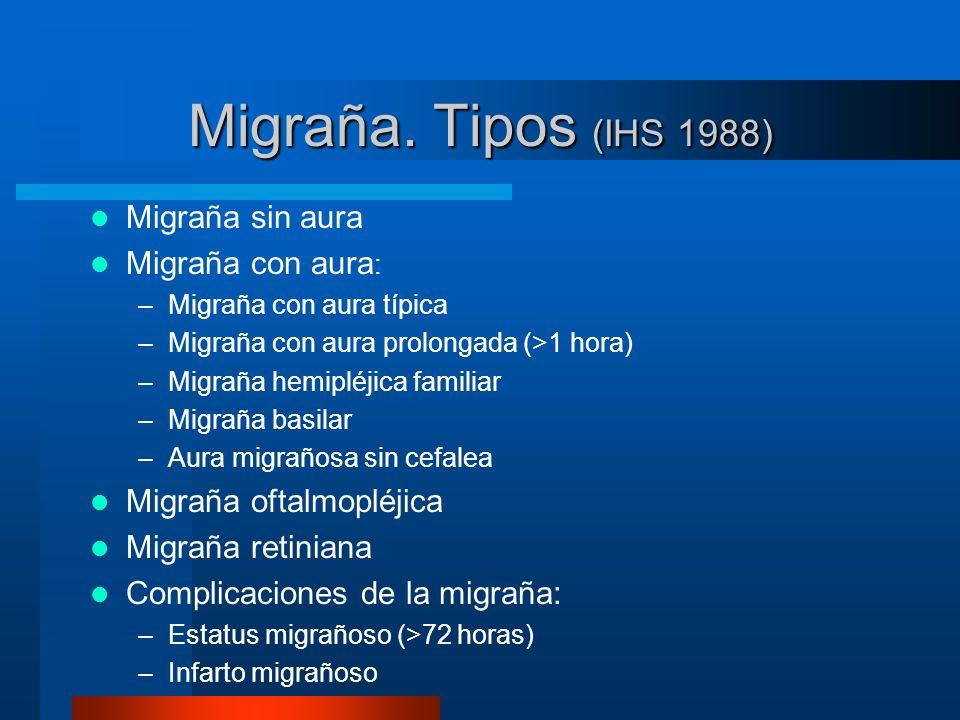 Migraña. Tipos (IHS 1988) Migraña sin aura Migraña con aura: