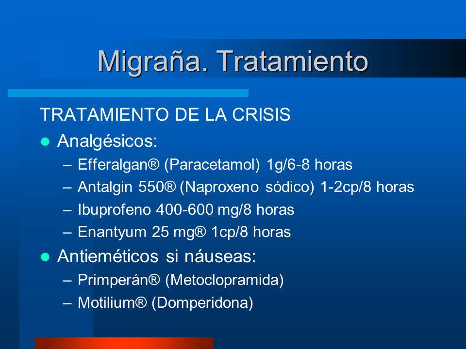 Migraña. Tratamiento TRATAMIENTO DE LA CRISIS Analgésicos: