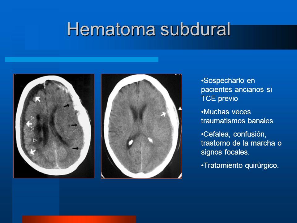 Hematoma subdural Sospecharlo en pacientes ancianos si TCE previo