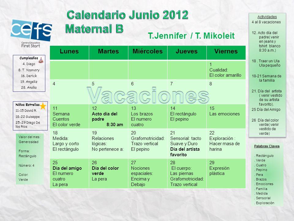 Vacaciones Calendario Junio 2012 Maternal B T.Jennifer / T. Mikoleit