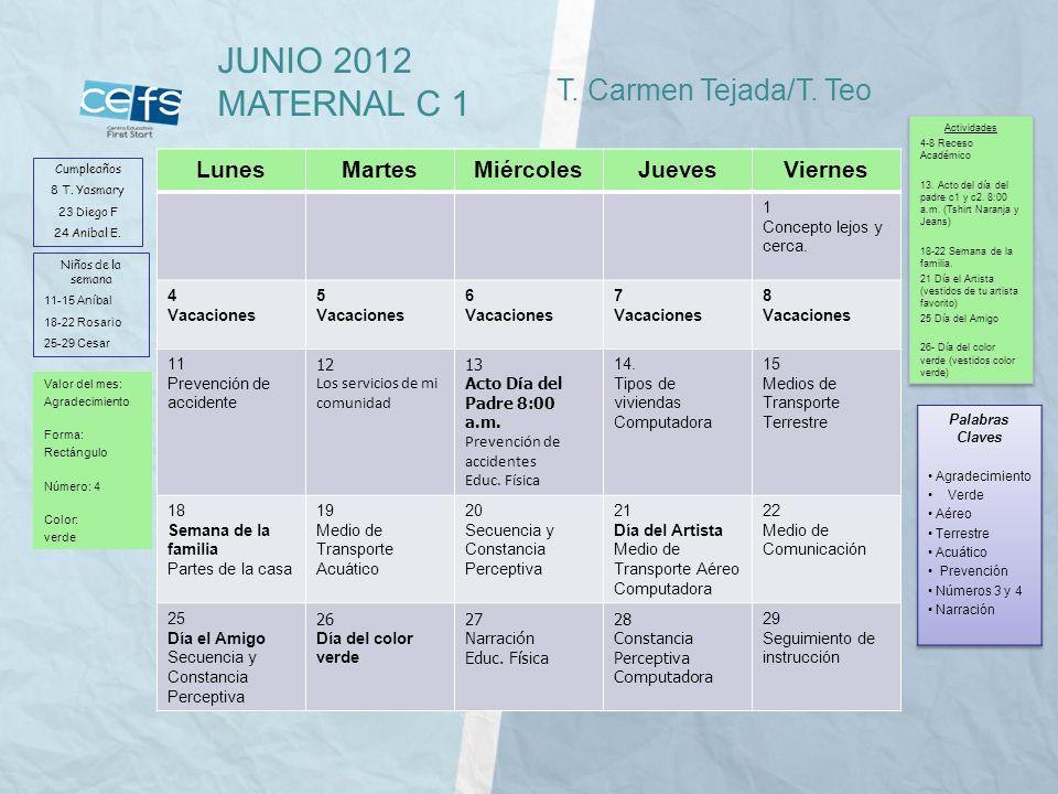 JUNIO 2012 MATERNAL C 1 T. Carmen Tejada/T. Teo Lunes Martes Miércoles