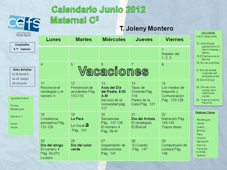 Vacaciones Calendario Junio 2012 Maternal C2 T. Joleny Montero Lunes