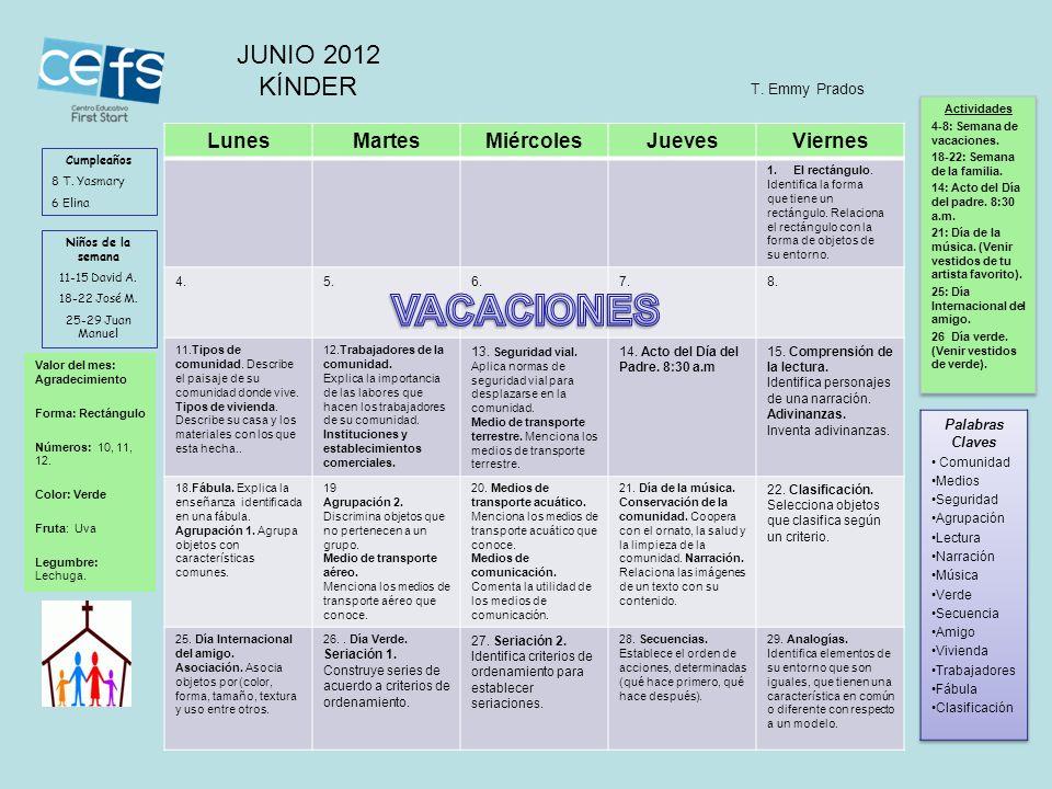 VACACIONES JUNIO 2012 KÍNDER Lunes Martes Miércoles Jueves Viernes