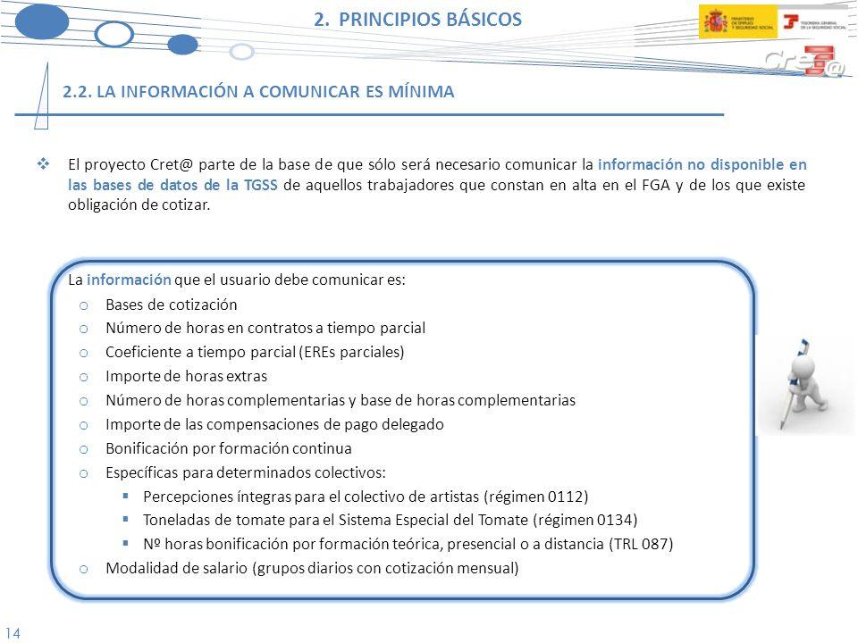 2. PRINCIPIOS BÁSICOS 2.2. LA INFORMACIÓN A COMUNICAR ES MÍNIMA