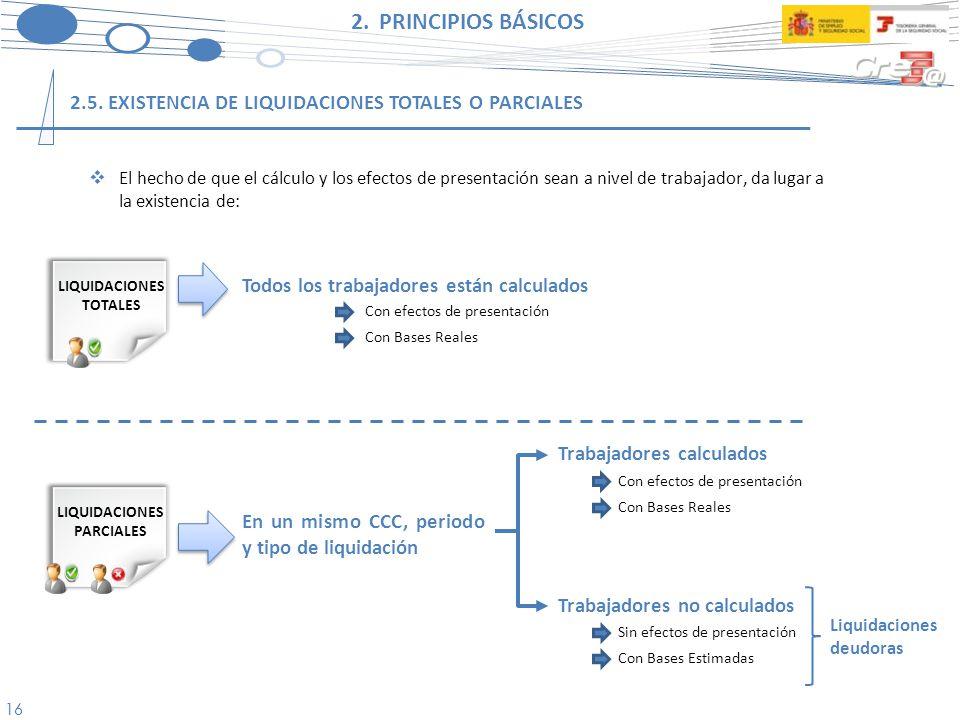 2. PRINCIPIOS BÁSICOS 2.5. EXISTENCIA DE LIQUIDACIONES TOTALES O PARCIALES.