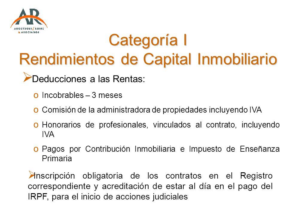Categoría I Rendimientos de Capital Inmobiliario