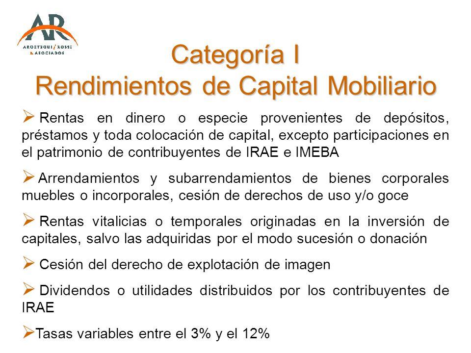 Categoría I Rendimientos de Capital Mobiliario