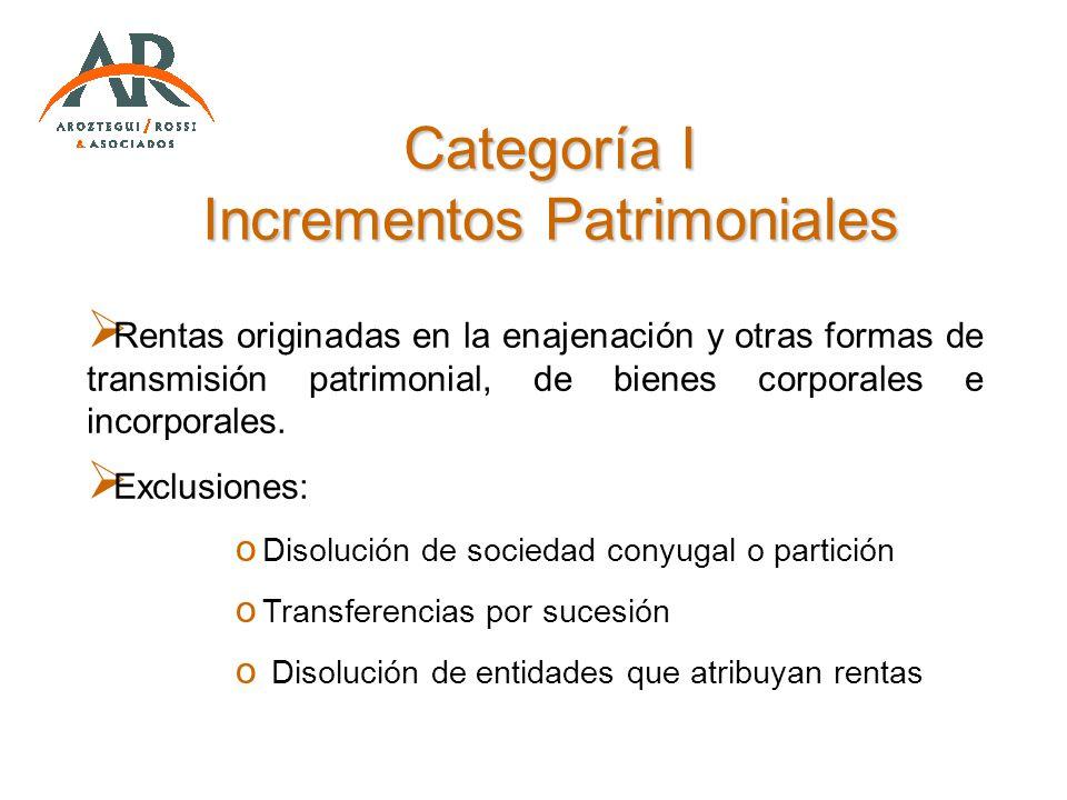 Categoría I Incrementos Patrimoniales