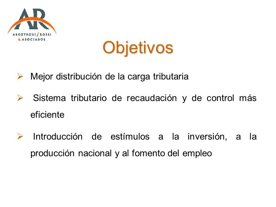 Objetivos Mejor distribución de la carga tributaria