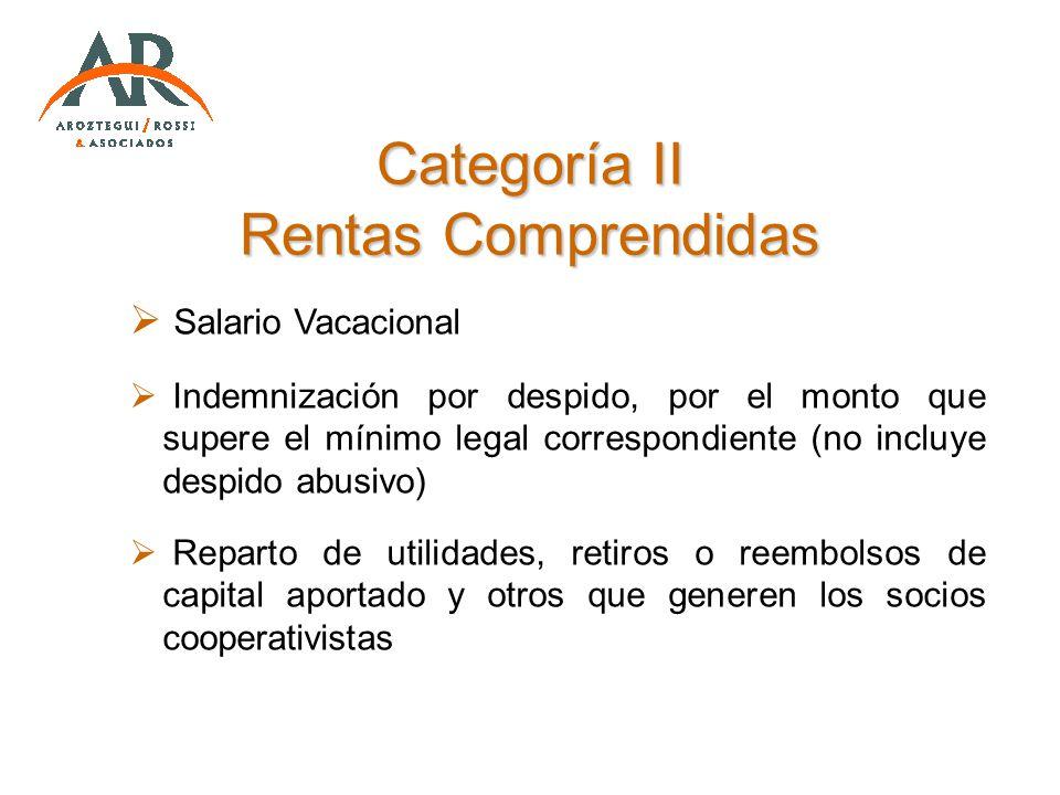 Categoría II Rentas Comprendidas