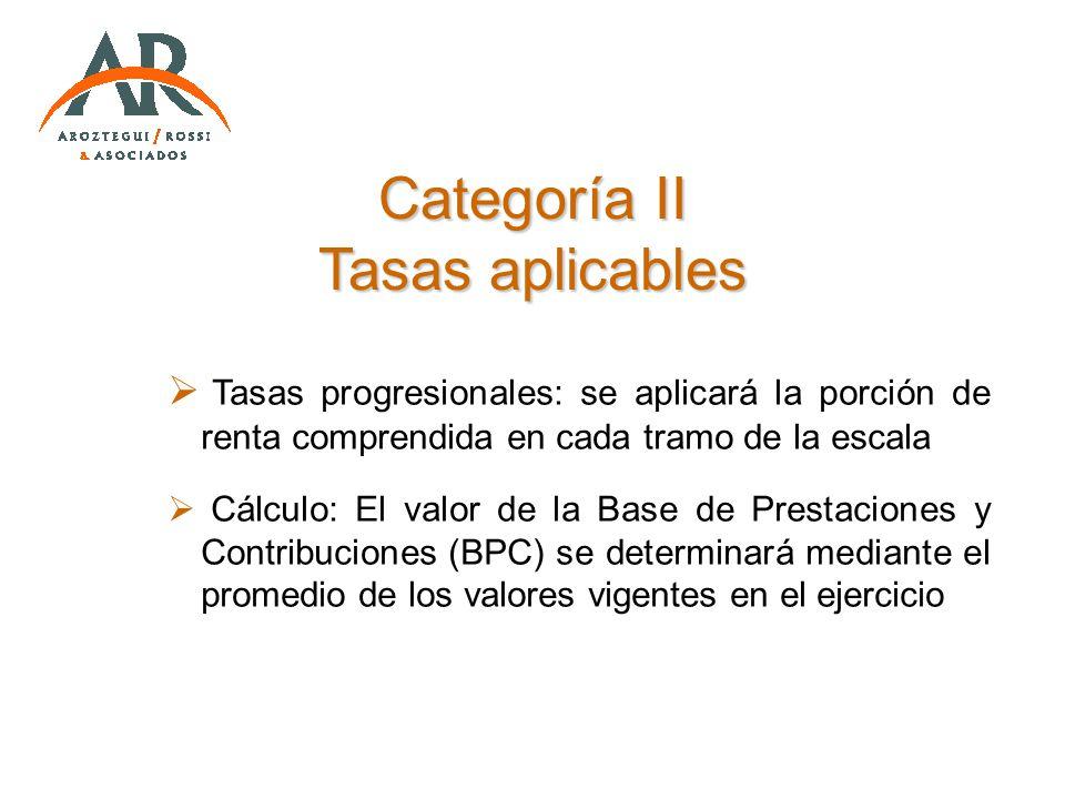 Categoría II Tasas aplicables