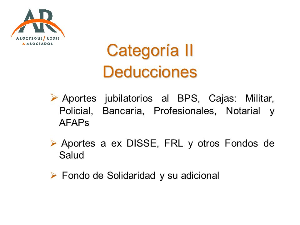 Categoría II Deducciones