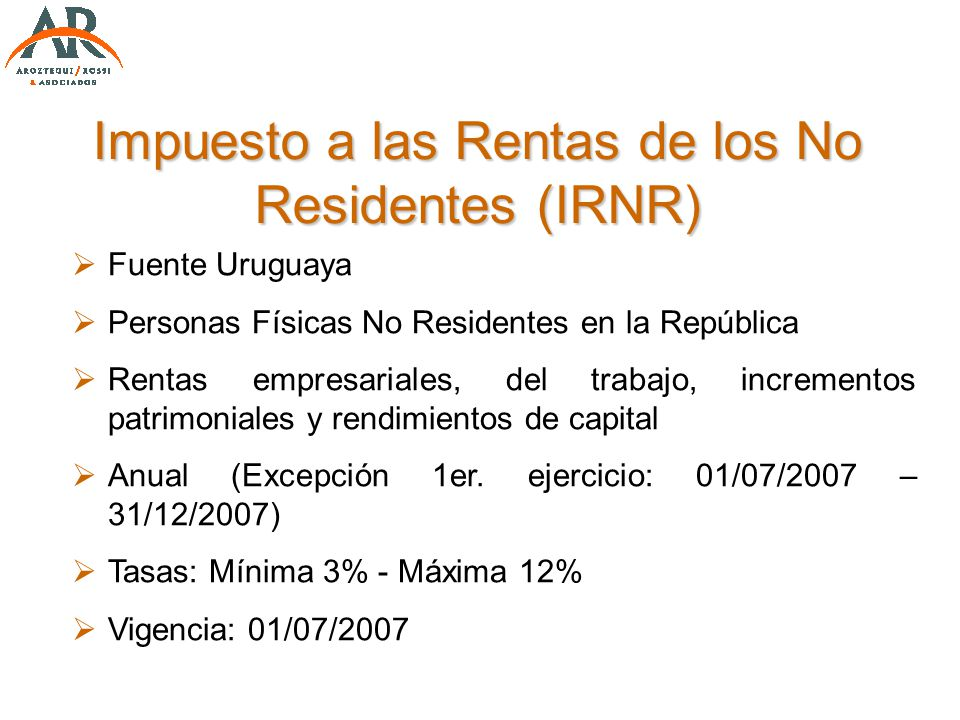 Impuesto a las Rentas de los No Residentes (IRNR)