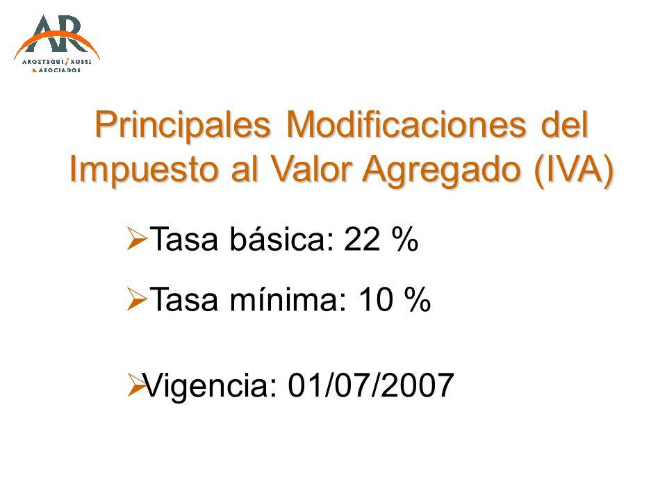 Principales Modificaciones del Impuesto al Valor Agregado (IVA)