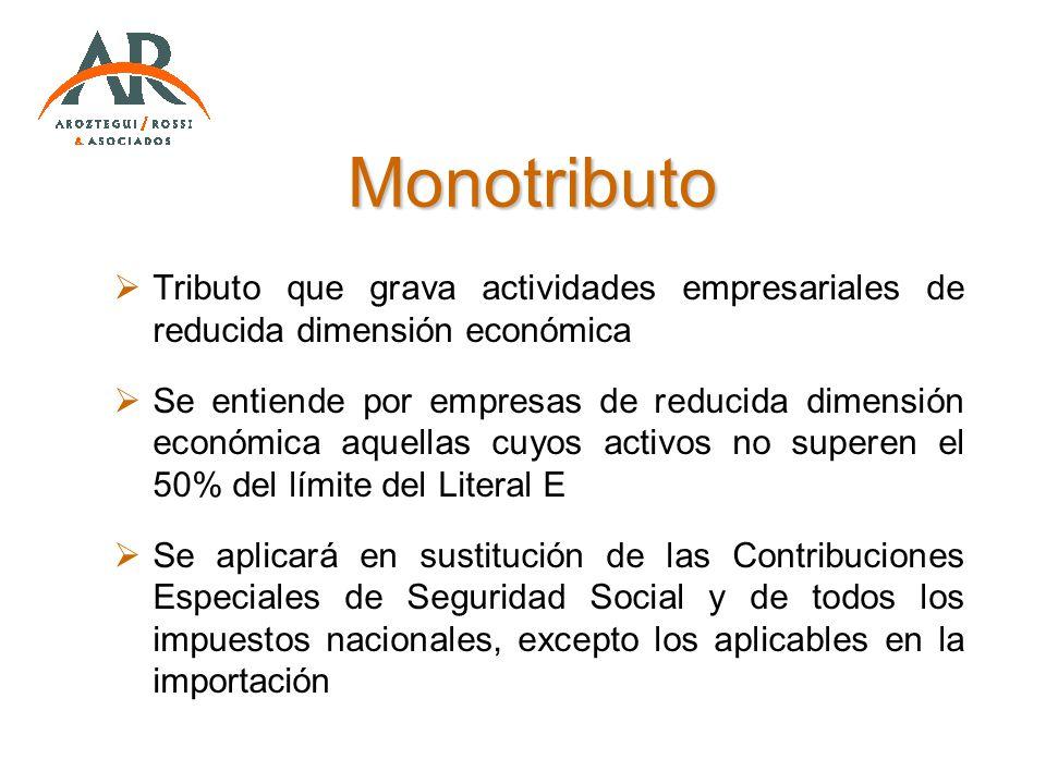 Monotributo Tributo que grava actividades empresariales de reducida dimensión económica.