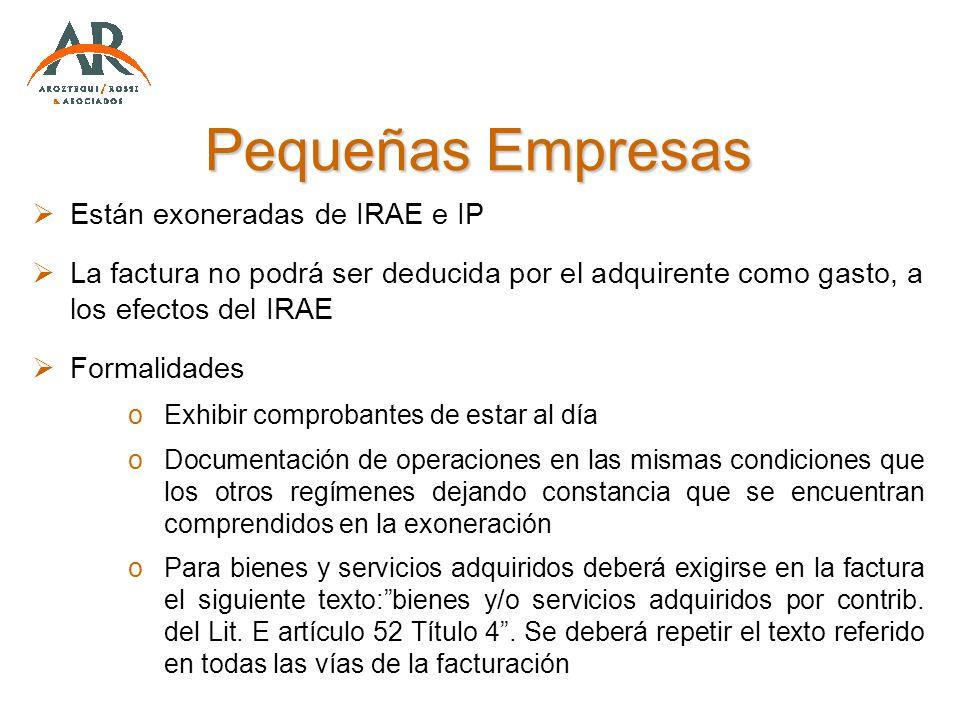 Pequeñas Empresas Están exoneradas de IRAE e IP