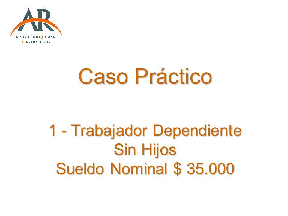 Caso Práctico 1 - Trabajador Dependiente Sin Hijos Sueldo Nominal $ 35