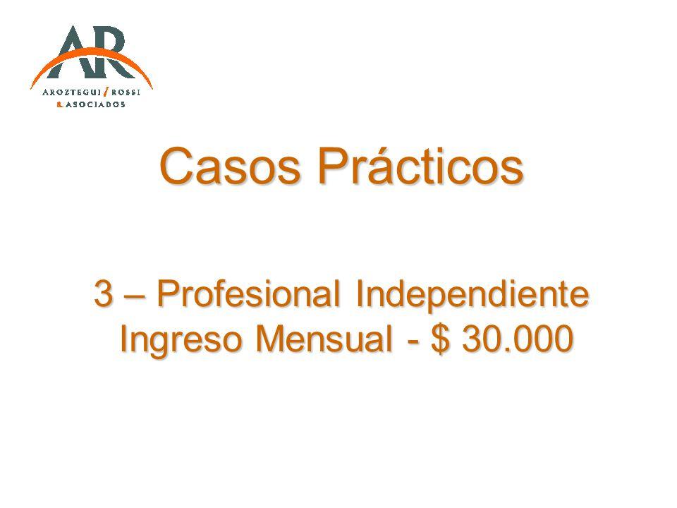 Casos Prácticos 3 – Profesional Independiente Ingreso Mensual - $ 30