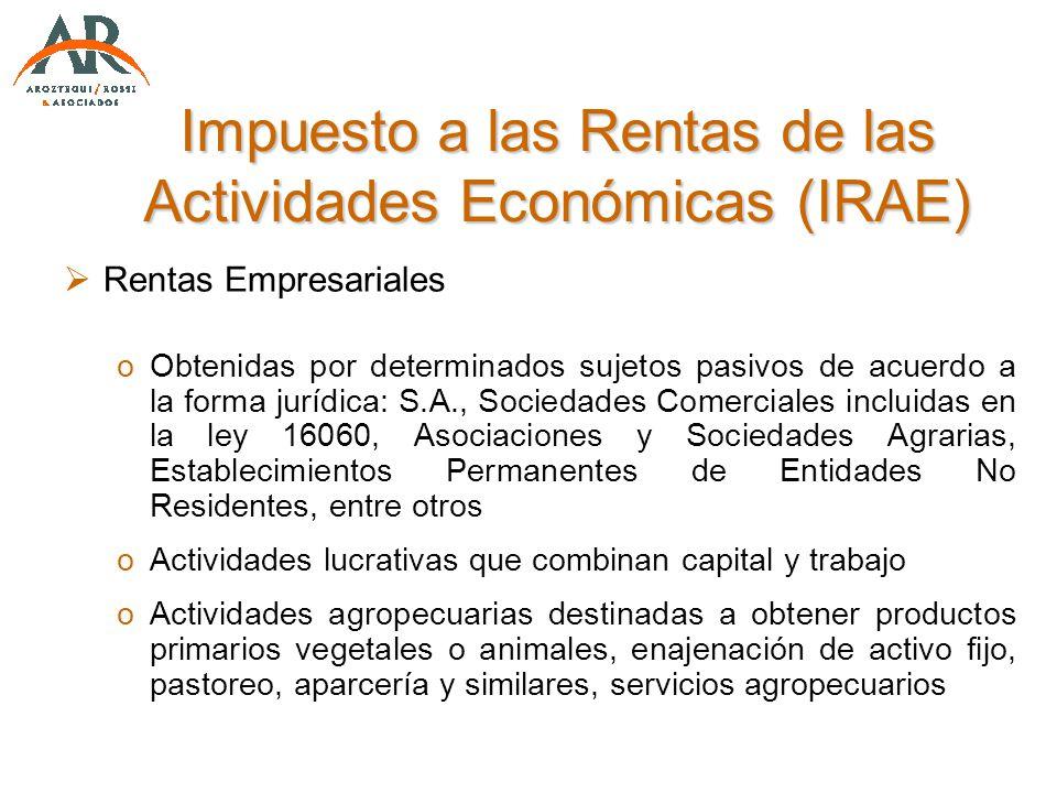 Impuesto a las Rentas de las Actividades Económicas (IRAE)