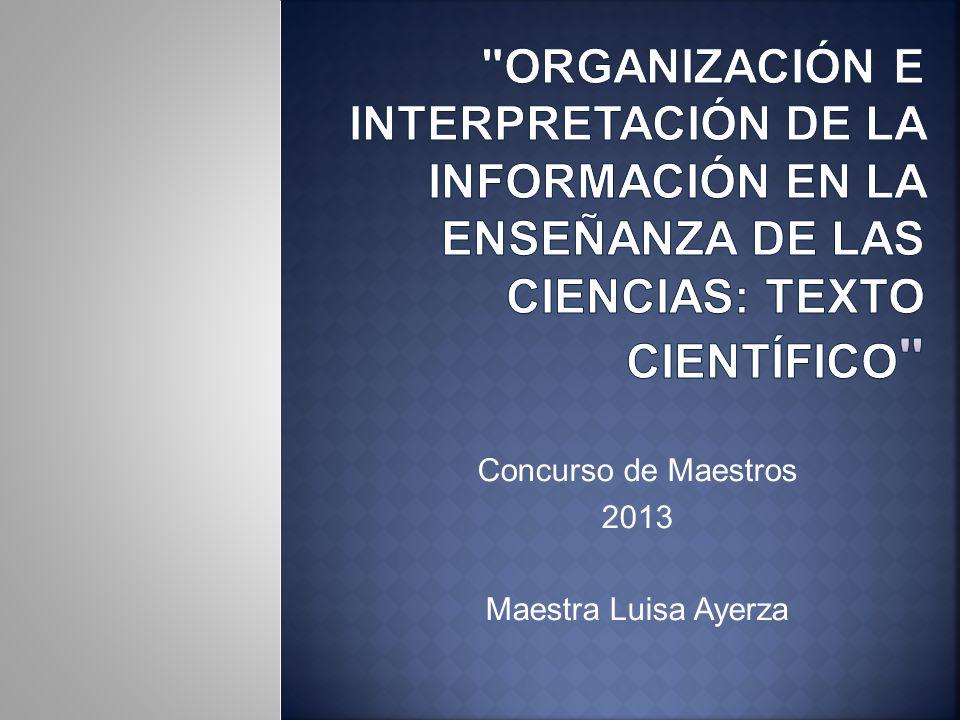 Concurso de Maestros 2013 Maestra Luisa Ayerza