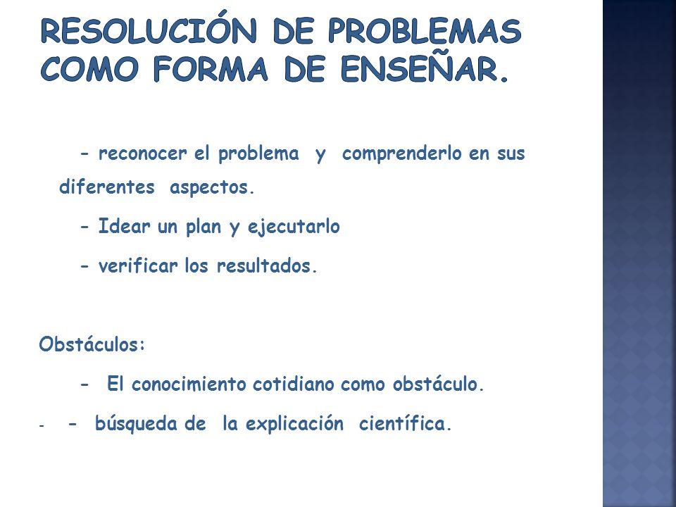 Resolución de problemas como forma de enseñar.