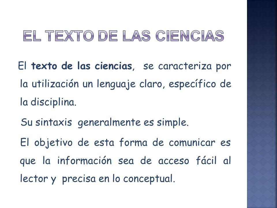 EL TEXTO DE LAS CIENCIAS