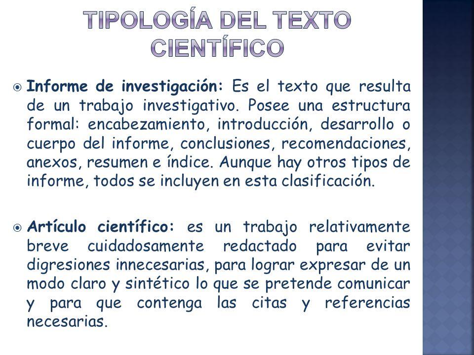 Tipología del texto científico