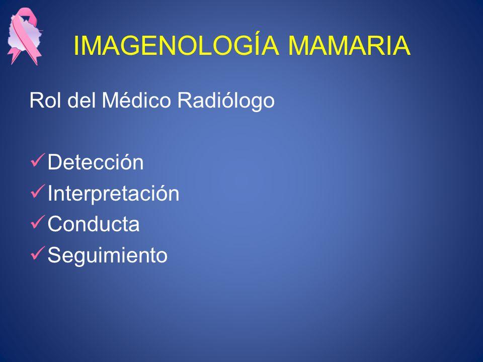 IMAGENOLOGÍA MAMARIA Rol del Médico Radiólogo Detección Interpretación