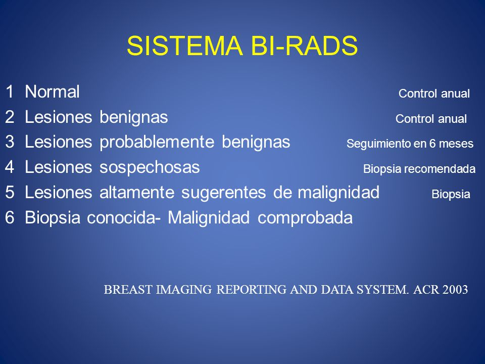 SISTEMA BI-RADS 1 Normal Control anual