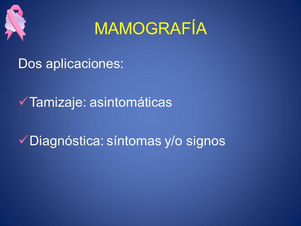 MAMOGRAFÍA Dos aplicaciones: Tamizaje: asintomáticas