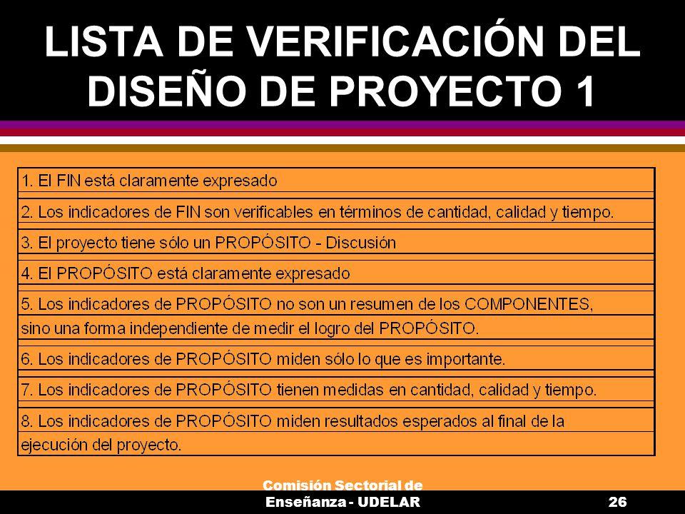 LISTA DE VERIFICACIÓN DEL DISEÑO DE PROYECTO 1