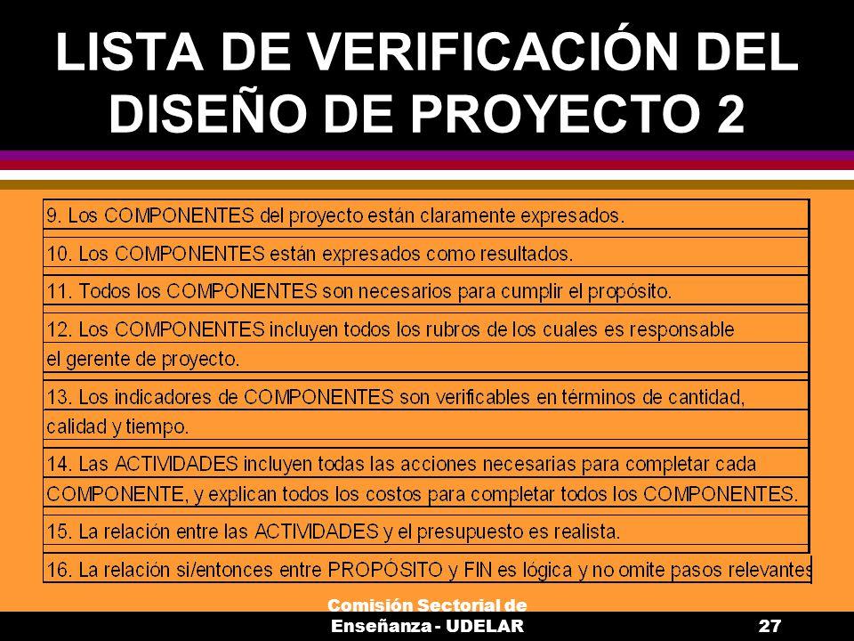 LISTA DE VERIFICACIÓN DEL DISEÑO DE PROYECTO 2