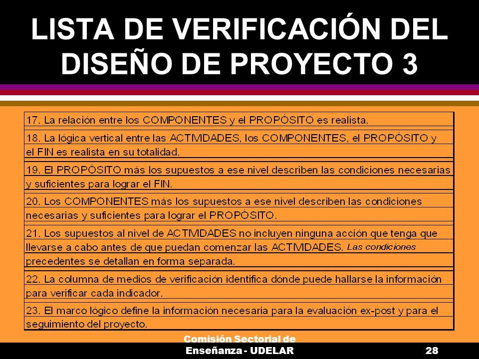 LISTA DE VERIFICACIÓN DEL DISEÑO DE PROYECTO 3
