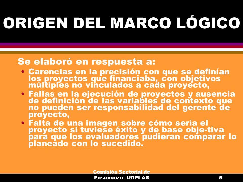 ORIGEN DEL MARCO LÓGICO