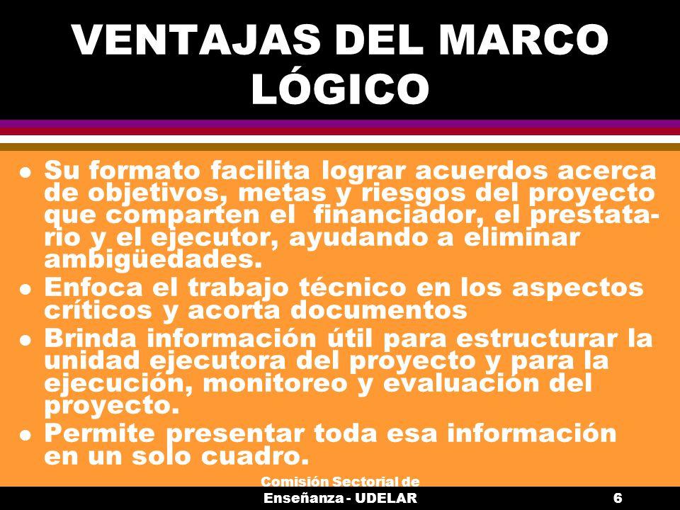 VENTAJAS DEL MARCO LÓGICO