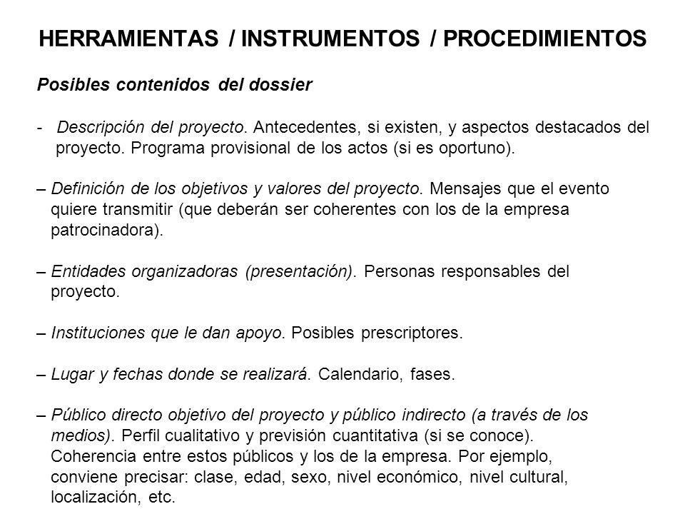 HERRAMIENTAS / INSTRUMENTOS / PROCEDIMIENTOS