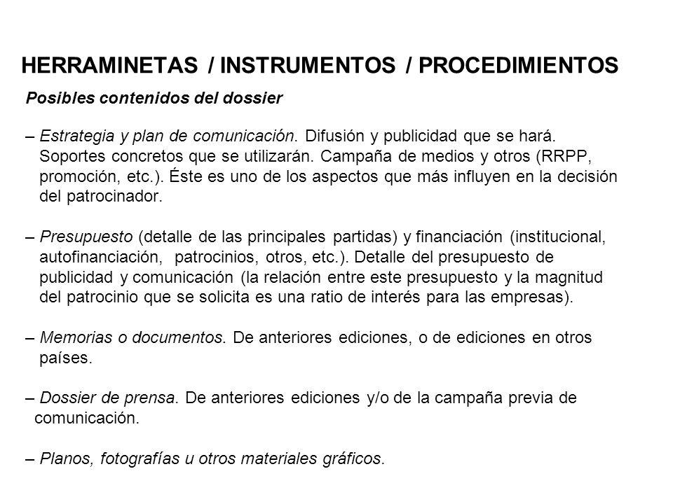 HERRAMINETAS / INSTRUMENTOS / PROCEDIMIENTOS