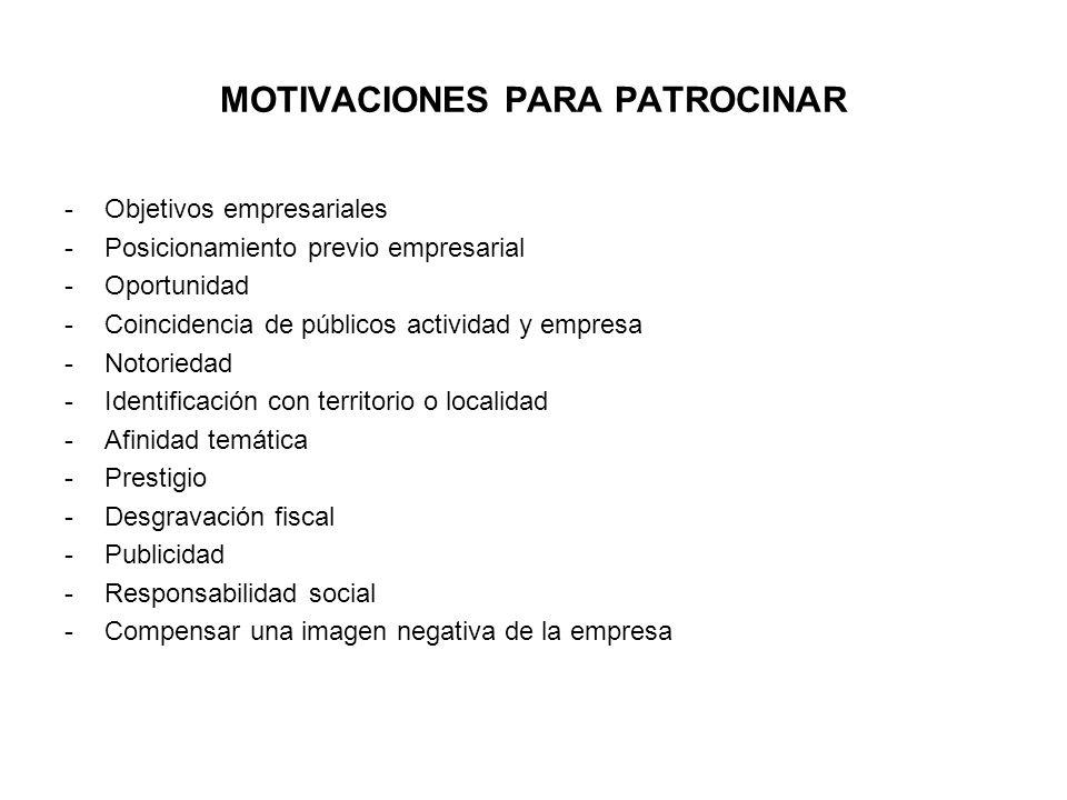 MOTIVACIONES PARA PATROCINAR