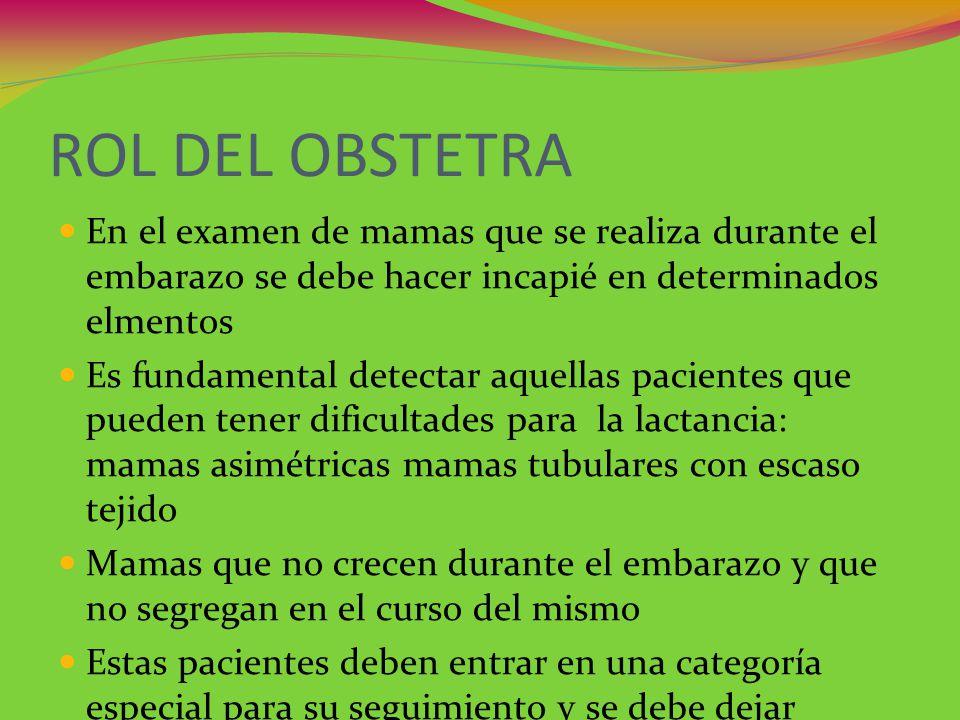 ROL DEL OBSTETRA En el examen de mamas que se realiza durante el embarazo se debe hacer incapié en determinados elmentos.