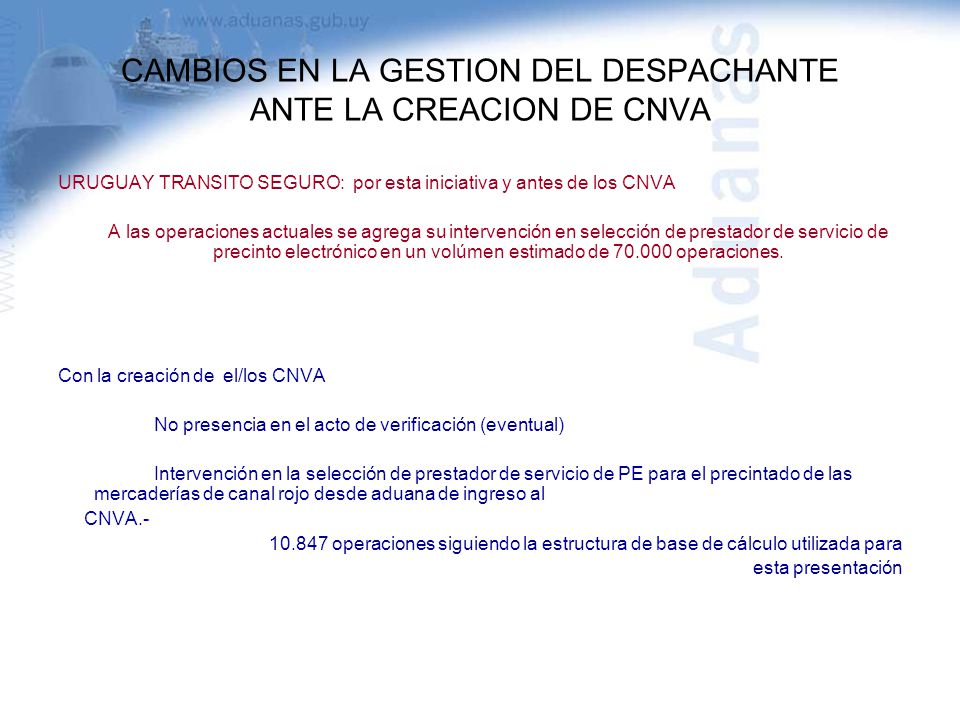 CAMBIOS EN LA GESTION DEL DESPACHANTE ANTE LA CREACION DE CNVA