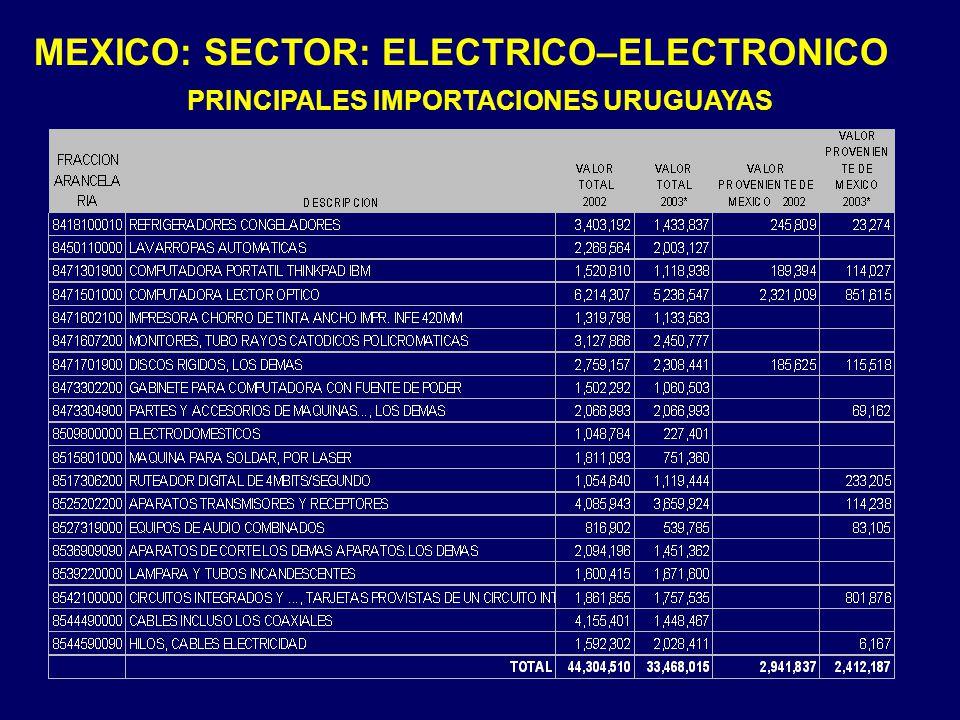 PRINCIPALES IMPORTACIONES URUGUAYAS