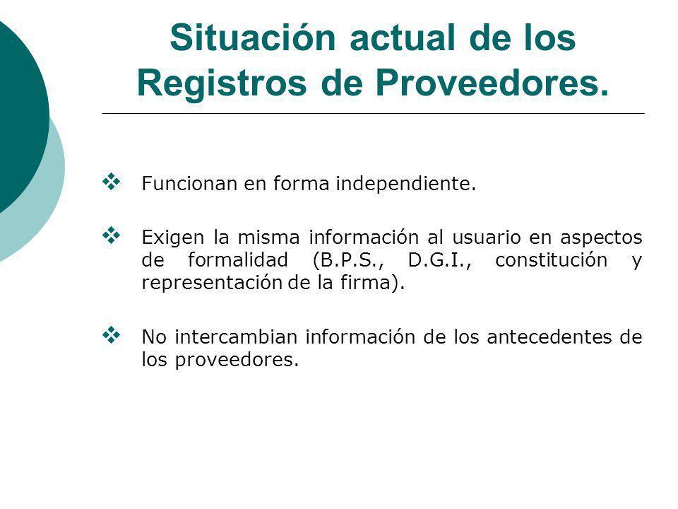 Situación actual de los Registros de Proveedores.